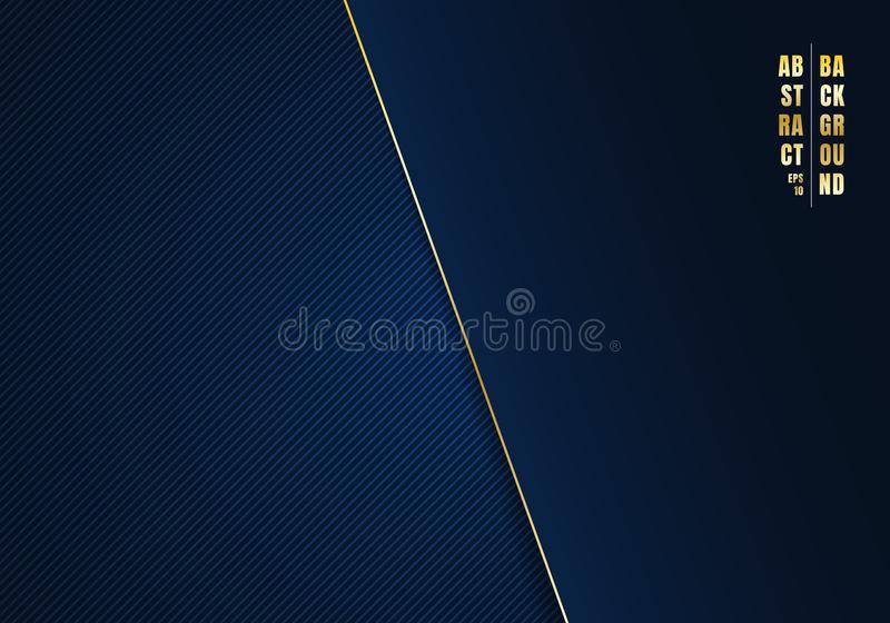 Abstract template diagonal lines striped dark blue gradient background and texture with golden line and space for your text. stock illustration