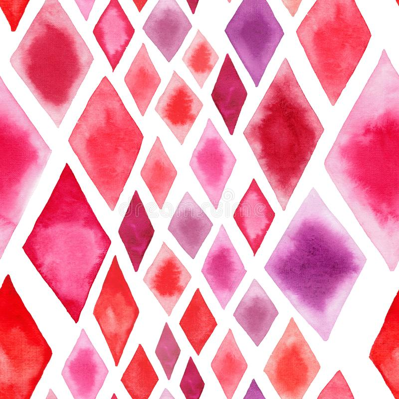 Abstract tender wonderful transparent bright red pink rhombuses different shapes pattern watercolor hand illustration. Perfect for textile, wallpapers, and stock illustration