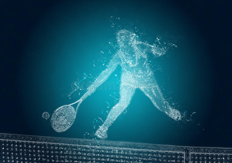 Abstract tennis player in action royalty free stock photography