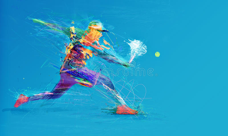 Abstract tennis player stock photography
