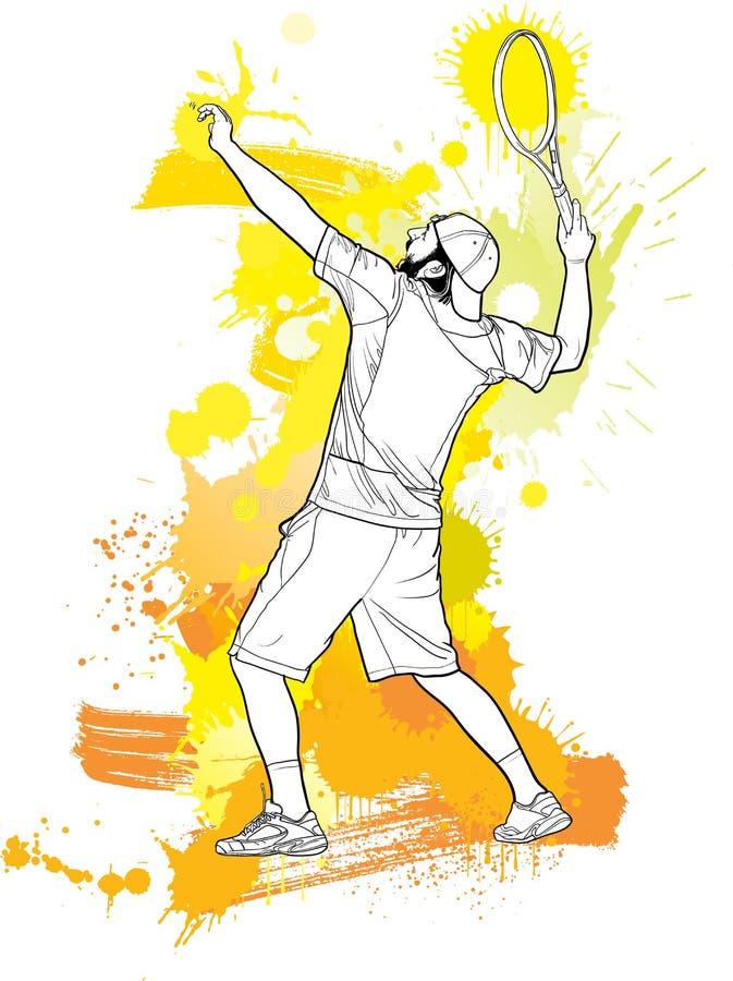 Abstract2 tennisspeler met een racket van plons stock illustratie