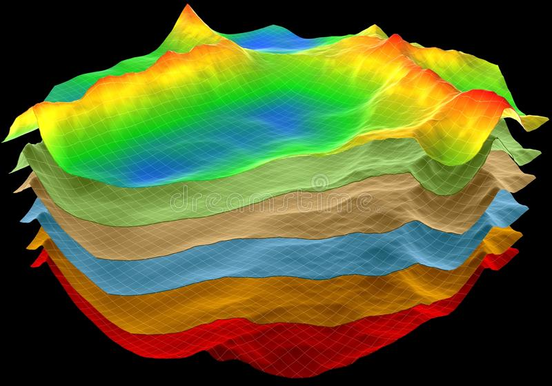 Abstract terrain, geology layers. Abstract terrain, geology cut layers scheme, 3d render on black vector illustration
