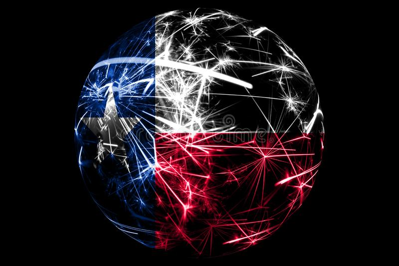 Abstract Texas sparkling flag. American Christmas ball holiday concept isolated on black background.  stock illustration