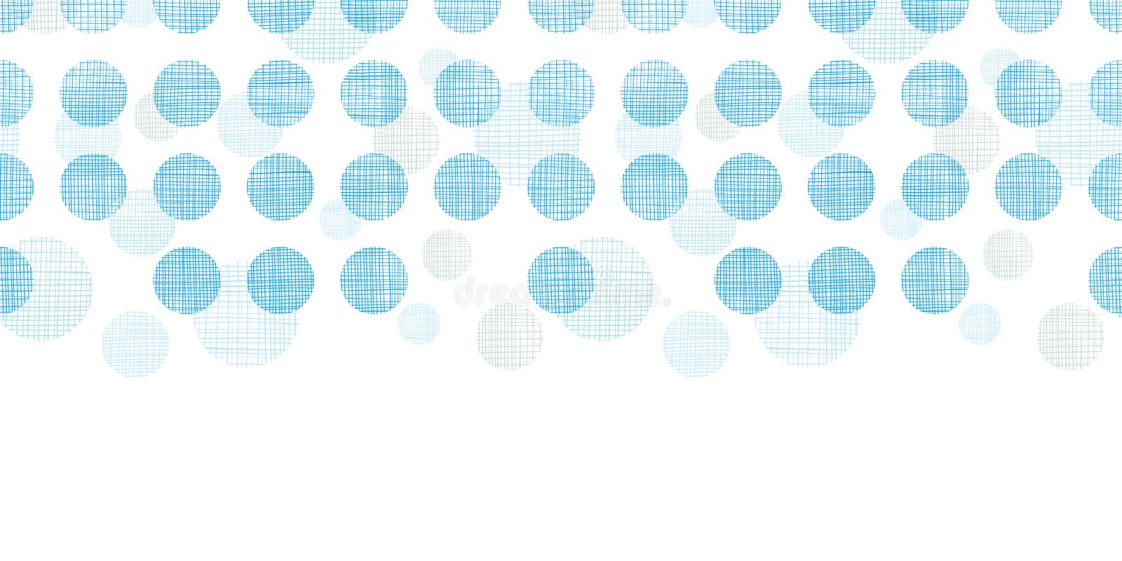 Abstract textile blue polka dots stripes horizontal seamless pattern background vector illustration