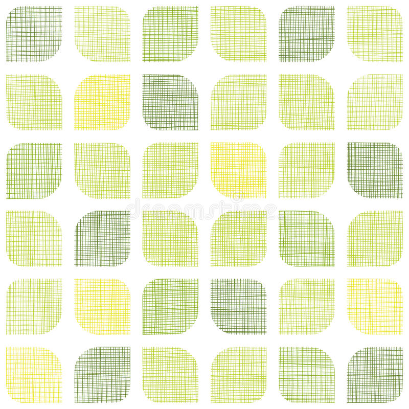 Abstract textile green rounded squares seamless stock illustration