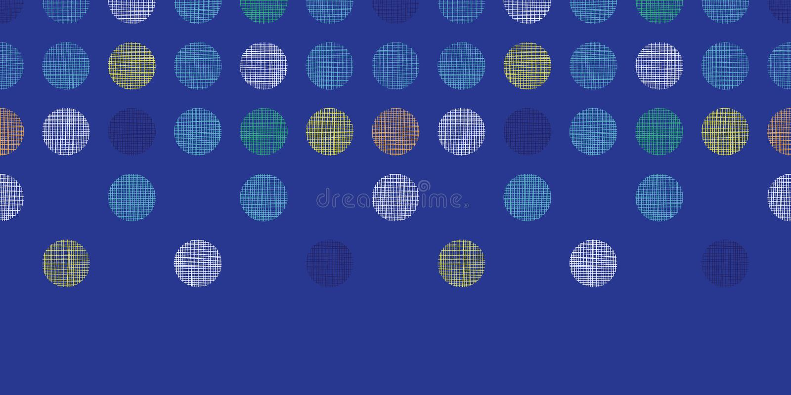 Abstract textile polka dots on blue horizontal seamless pattern background vector illustration