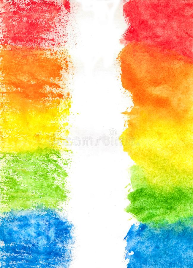 Abstract Textural Blue, Green, Red, Yellow Hand-Drawn Watercolor stock illustration