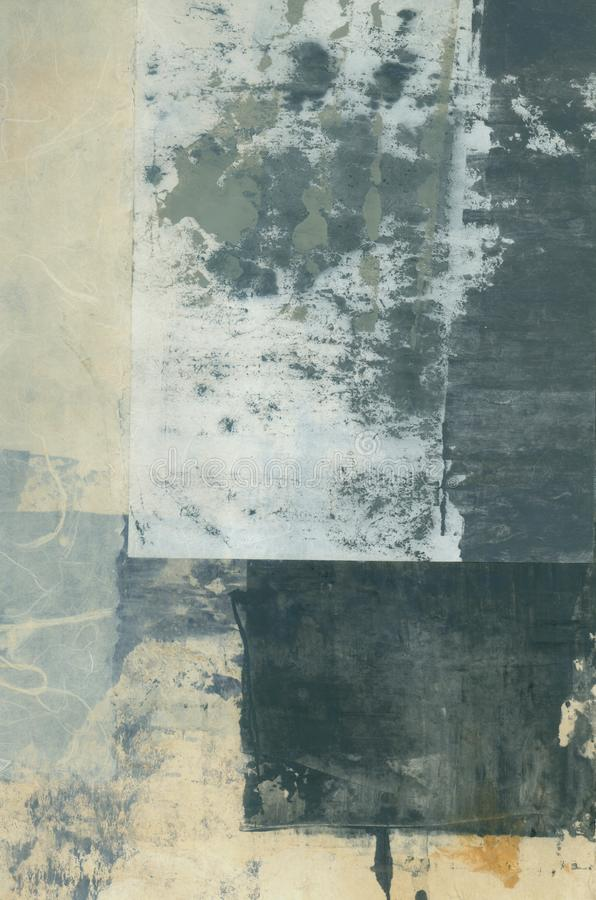 Abstract Textural Paper Arts Collage Painting With Grey Tones stock photos