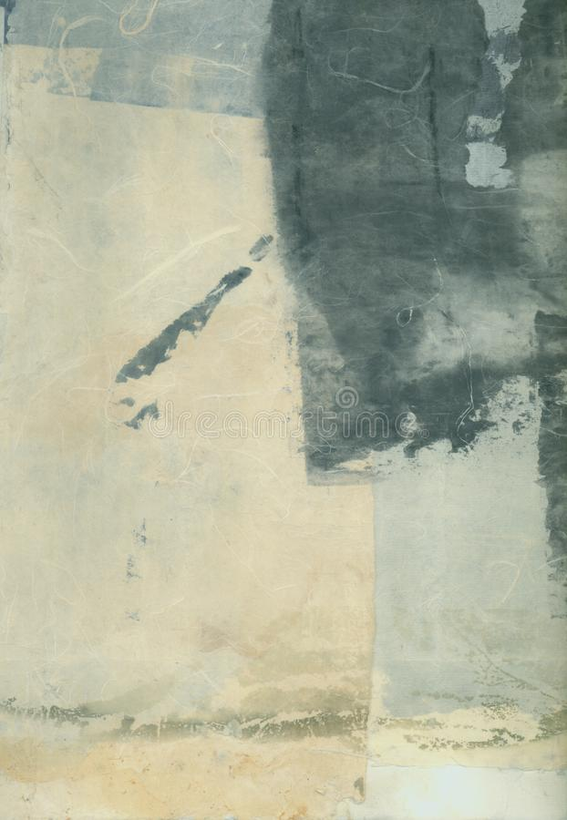 Abstract Textural Paper Arts Collage Painting With Grey Tones royalty free stock photo
