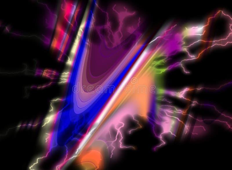 Violet purple pastel dark hues, forms on vivid abstract background stock illustration