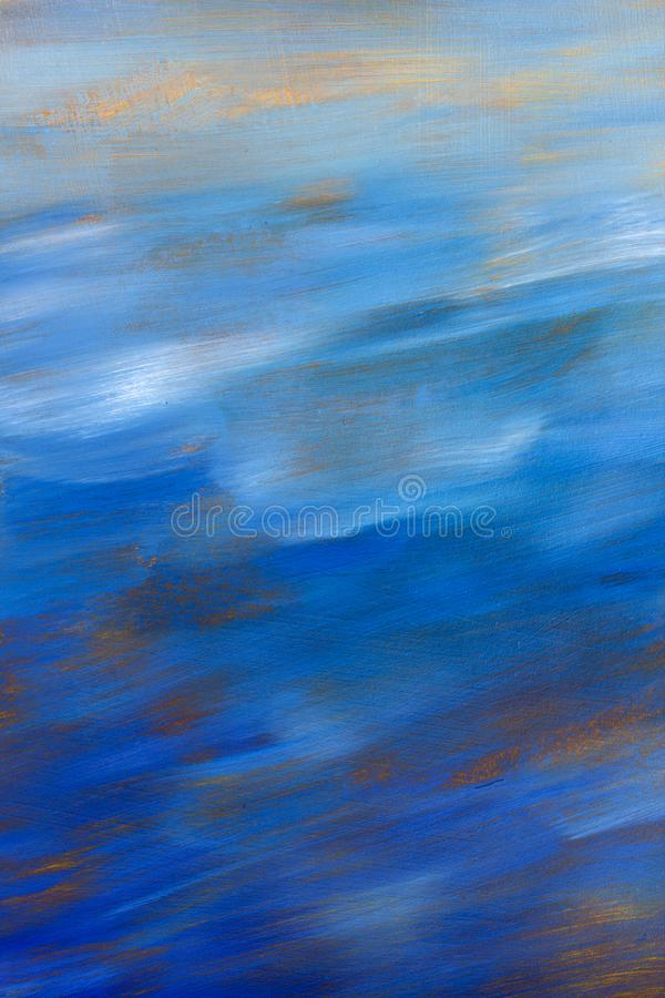 Abstract texture blue sky oil painting background. Closeup macro Hand drawn artwork. royalty free stock photography