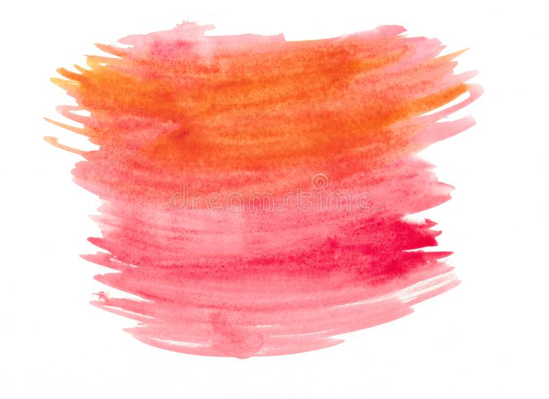Abstract texture brush ink background aquarel watercolor splash hand paint on white background stock illustration