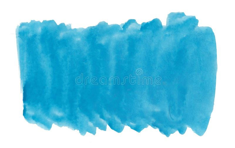 Abstract texture brush ink background blue aquarell watercolor splash paint on white background royalty free stock photos