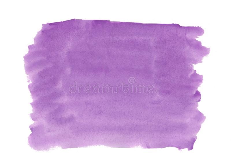 Abstract texture brush ink background purple, violet aquarel watercolor splash paint on white background royalty free stock photo