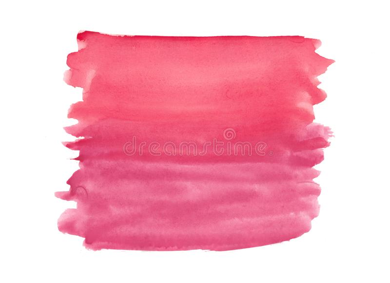 Abstract texture brush ink background red pink aquarell watercolor splash paint on white background. Abstract texture brush ink background red pink aquarell stock image