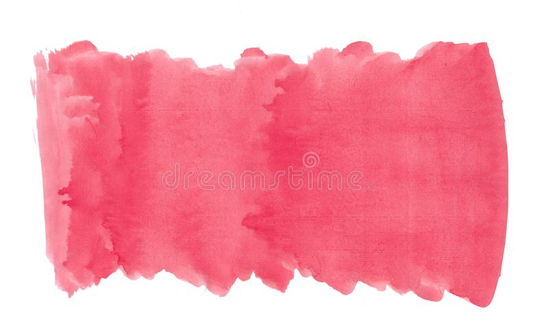 Abstract texture brush ink background red pink aquarell watercolor splash paint on white background. Abstract texture brush ink background red pink aquarell stock photography