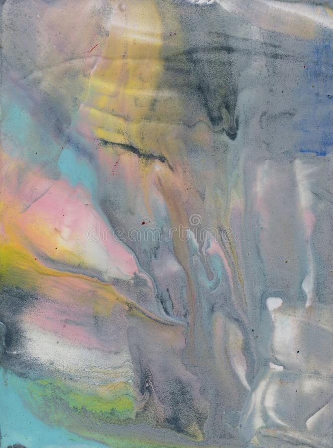 Abstract texture, encaustic or water color look, cold colors, frost, spring or winter. Blue amd pink and yellow soft. Tones. Picture stock illustration