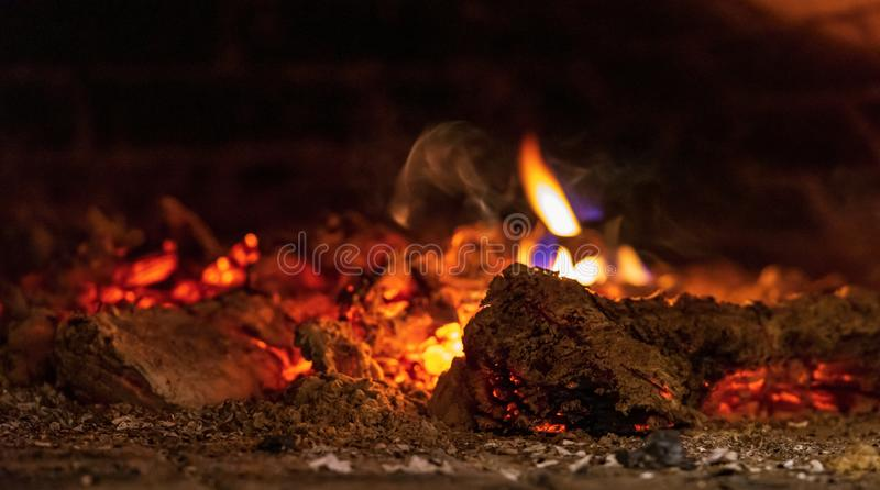 Abstract texture of fire in a fireplace or in the home furnace stock photo