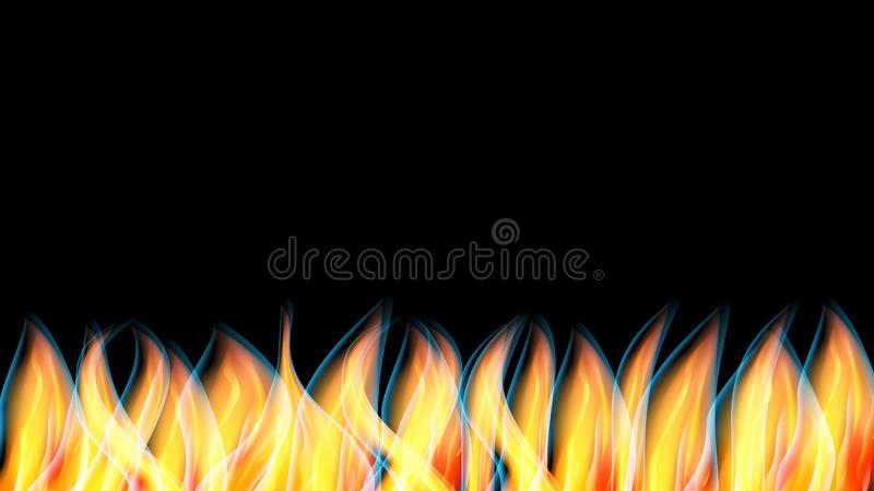 Abstract texture a hot shiny red orange burning fire with tongues of flame and smoke and copy space on a black background. Vector vector illustration