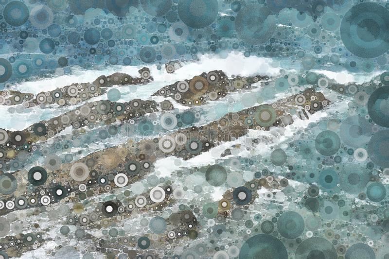 Abstract mosaic ocean wave texture. Abstract texture of ocean surf and rock formations royalty free stock image