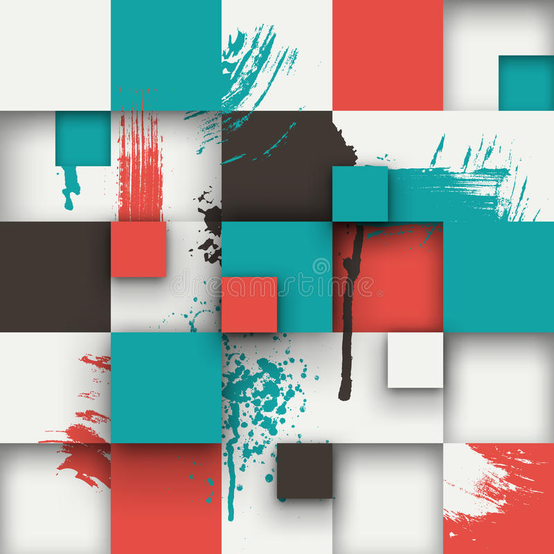 Abstract texture with squares and paint splashes. Vector background. Illustration of abstract texture with squares and paint splashes. Pattern design for banner stock illustration