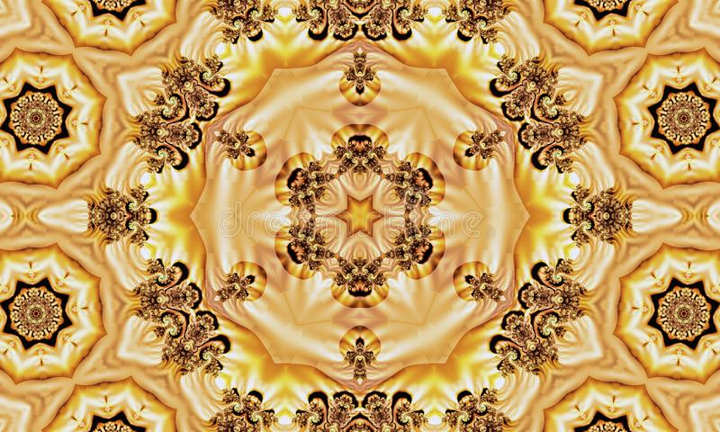 Abstract texture with stars and ornaments made of fractals on a yellow background royalty free illustration