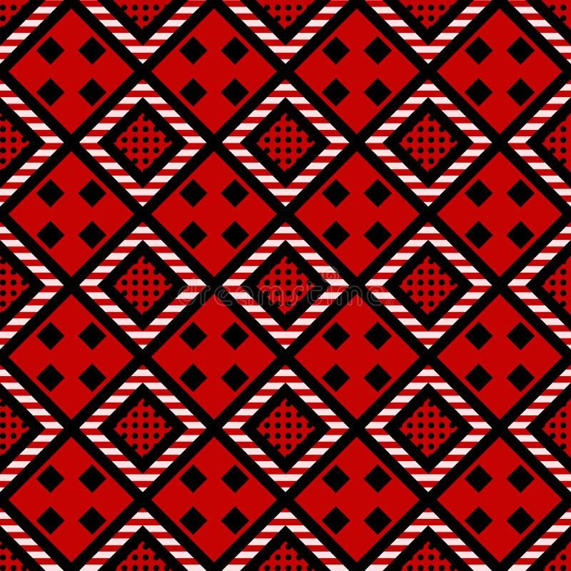 Λαϊκό συρμένο χέρι άνευ ραφής σχέδιο διακοσμήσεων abstract texture tribal Μαύρος, άσπρος ρόμβος στο κόκκινο διακοσμητικό υπόβαθρο ελεύθερη απεικόνιση δικαιώματος