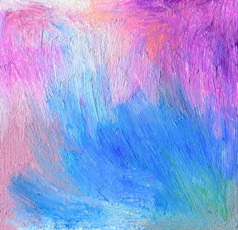 Abstract textured acrylic and oil pastel hand painted background. Impressionism style stock images