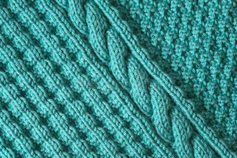 Abstract textured background of blue knitting stock photography