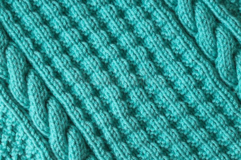 Abstract textured background of blue knitting royalty free stock photography
