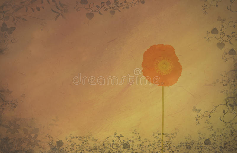 Abstract textured background with poppy stock image