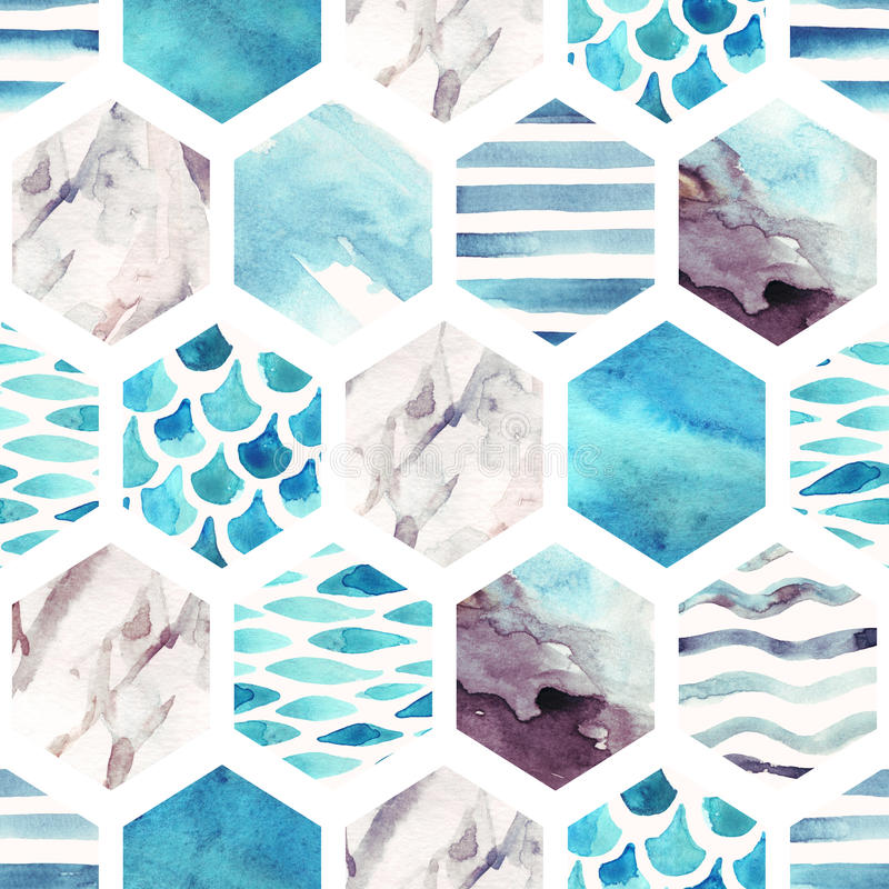Abstract textured hexagon shapes seamless pattern. Marble, watercolor textures, waves, stripes. Geometric background in marine style. Hand painted beach stock illustration