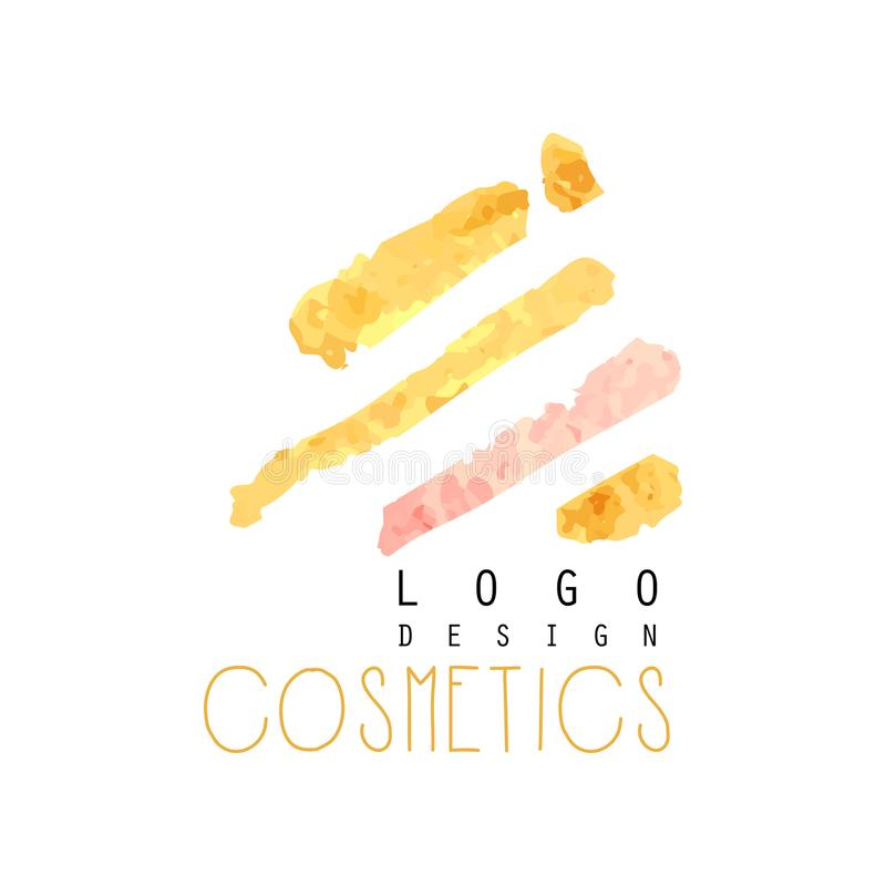Abstract textured logo original design for cosmetics shop or boutique. Label with gentle colors. Beauty salon emblem vector illustration
