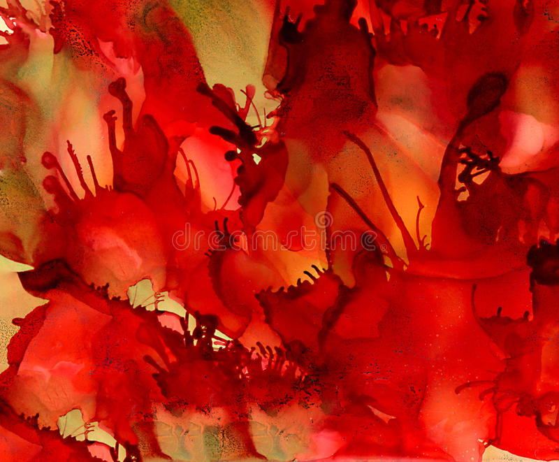 Abstract textured red tentacles earth green. Colorful background hand drawn with bright inks and watercolor paints. Color splashes and splatters create uneven stock illustration