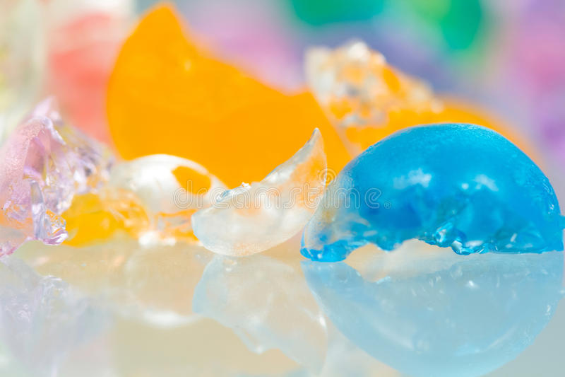 Abstract textures and patterns of broken jelly balls royalty free stock image