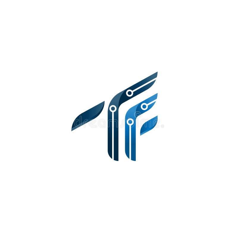 Abstract TF brieven aanvankelijk embleem symbool van TF meetkunde, vector het embleemmalplaatje van het alfabetpictogram minimali royalty-vrije illustratie
