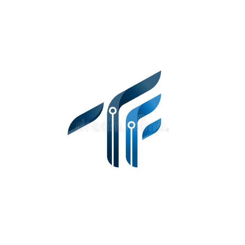 Abstract TF brieven aanvankelijk embleem symbool van TF meetkunde, vector het embleemmalplaatje van het alfabetpictogram minimali vector illustratie