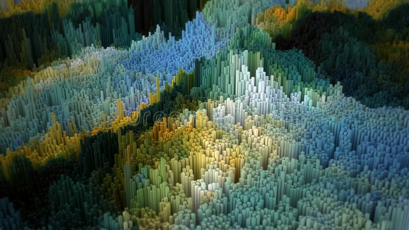 Abstract 3D illustration cubes landscape stock photo