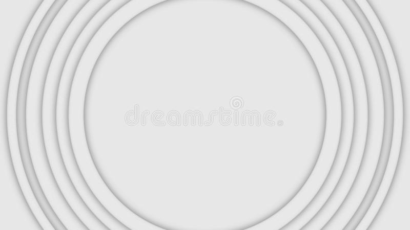 Abstract three-dimensional circles move on white background. Animation. Bulk layer spiral circles pulsate increasing in. Size in white space stock photos
