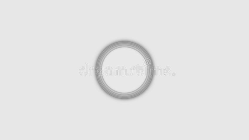 Abstract three-dimensional circles move on white background. Animation. Bulk layer spiral circles pulsate increasing in. Size in white space stock image