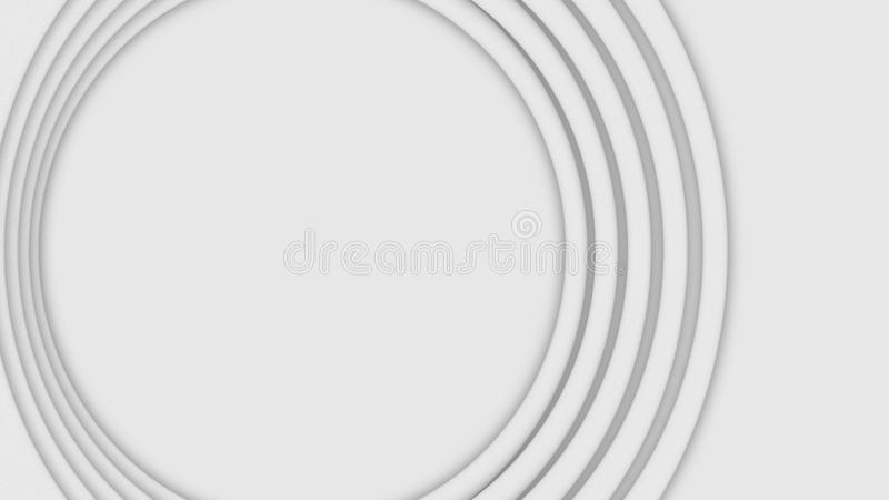 Abstract three-dimensional circles move on white background. Animation. Bulk layer spiral circles pulsate increasing in. Size in white space royalty free stock photography