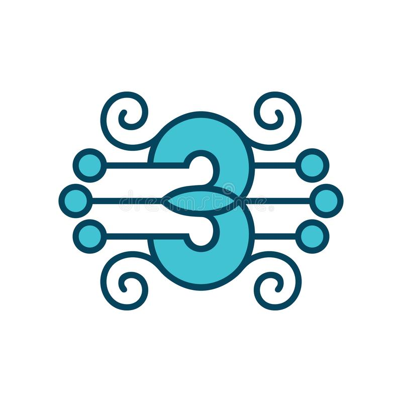 Number 3 vector sign royalty free illustration