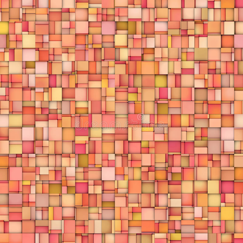 Abstract tile mosaic backdrop in orange pink royalty free stock image