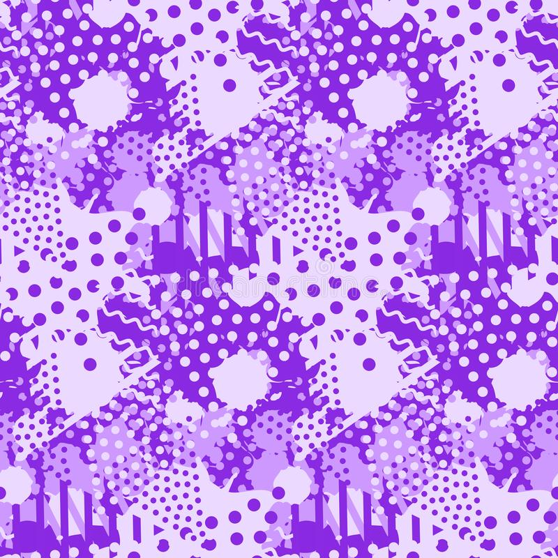 Abstract tile violet pattern. Seamless print texture with liquid and geometric shapes of proton purple color.  stock illustration