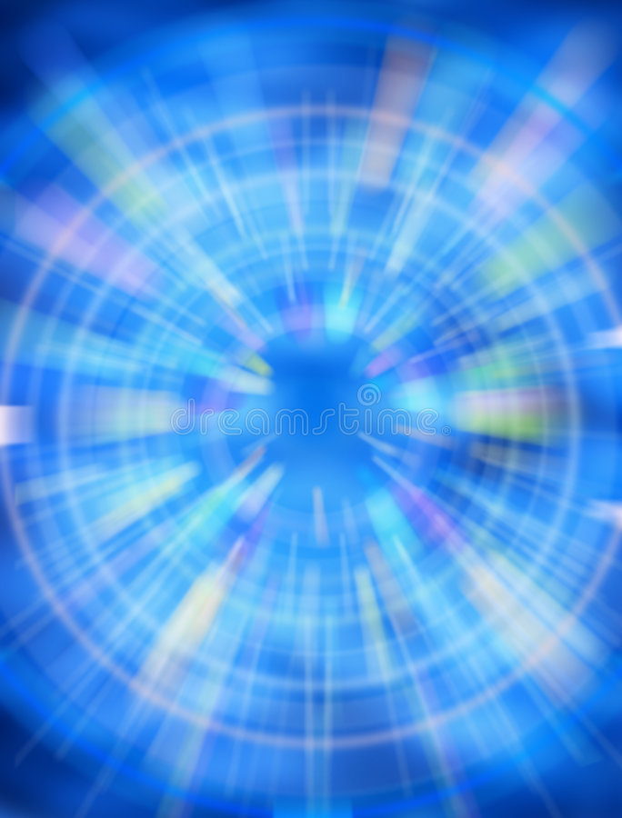 Abstract Time Background. A blue toned abstract background with many colors and a central focus point