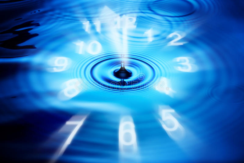 Abstract Time Clock Water. An abstract clock overlaid on a water drop background stock photography