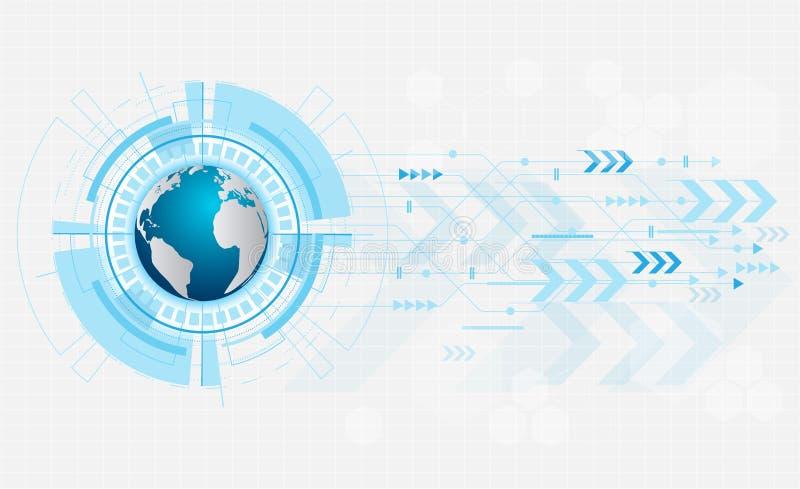 Abstract toekomstig digitaal technologieconcept op witte achtergrond, wereldkaart in oogappel, vector, illustratie royalty-vrije illustratie
