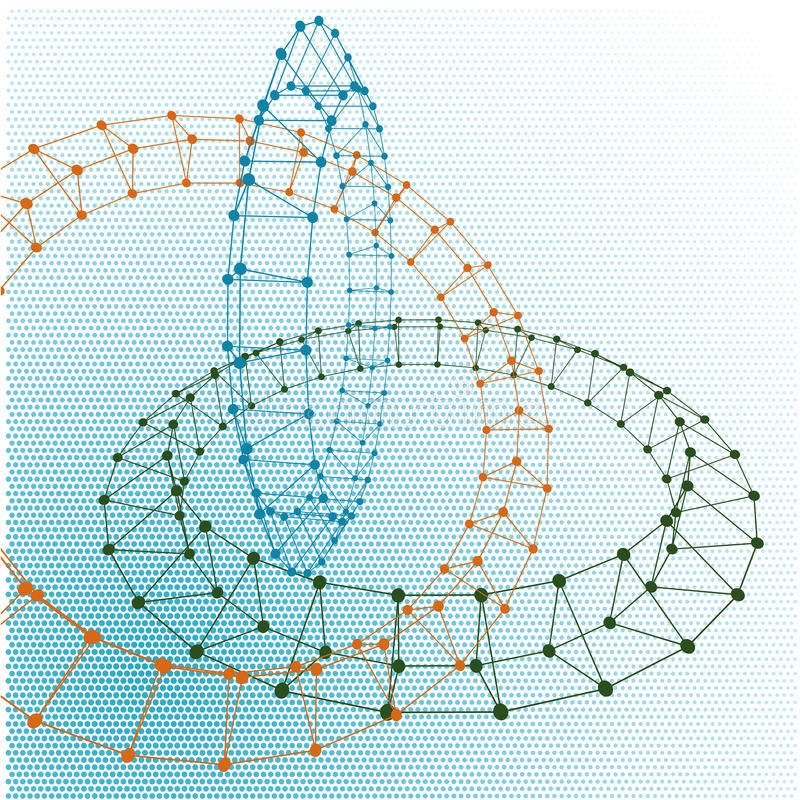 Abstract torus dotted lines connected to graphics. Abstract torus dotted lines connected to graphics and dots stock illustration
