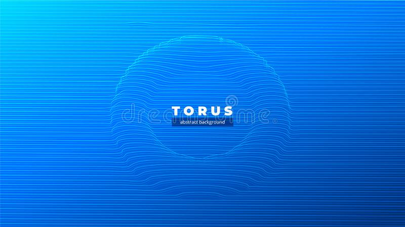 Abstract torus or a tunnel, the black hole, the curvature of space. Fantastic futuristic object of luminous lines and stock illustration