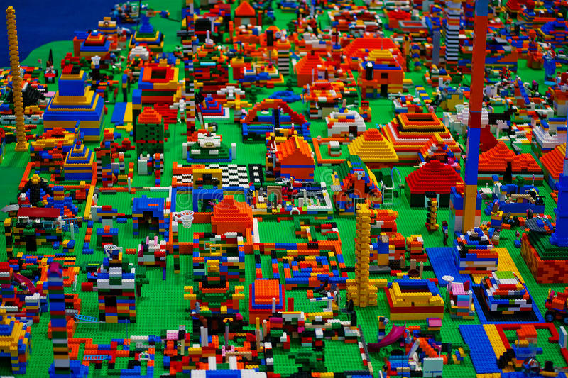 Abstract toy blocks. City made of abstract toy blocks royalty free stock images